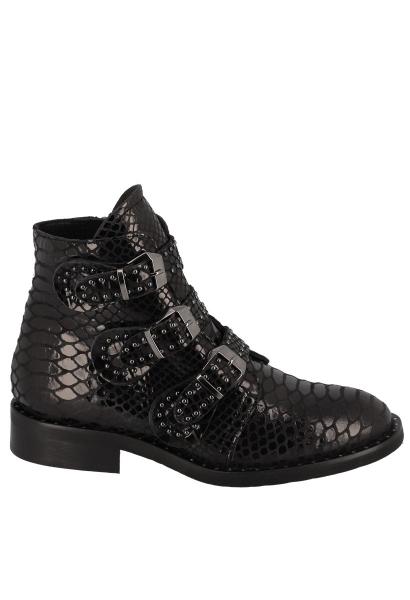 Boots 3 boucles cloutée Noir