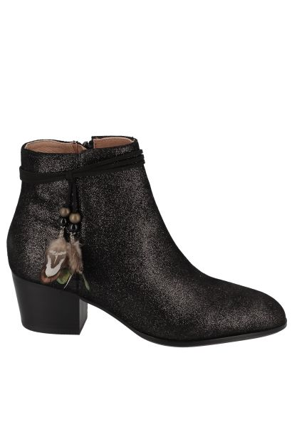Boots avec plumes à la la cheville STORY BOOTS SUEDE METALLIC Noir