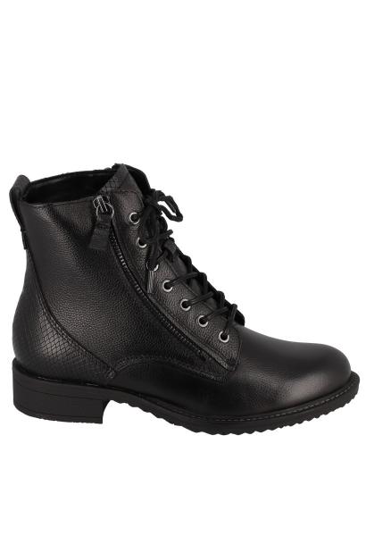 Boots à lacet empiècement effet serpent Noir