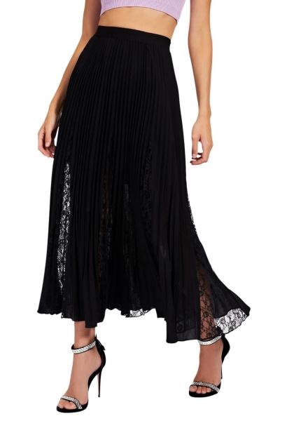 Jupe longue plissée avec dentelle LUISA Noir