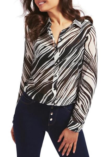 chemise manches longues en voile motifs zebré CLOUIS Blanc/noir