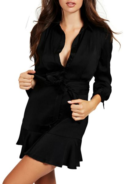 Robe chemise satinée manches longues HOPE Noir