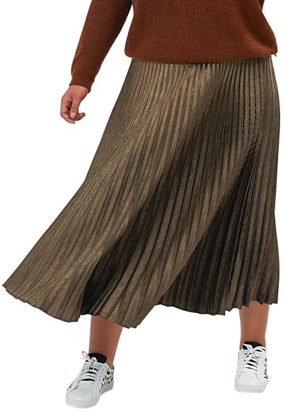 Jupe longue plissée Or