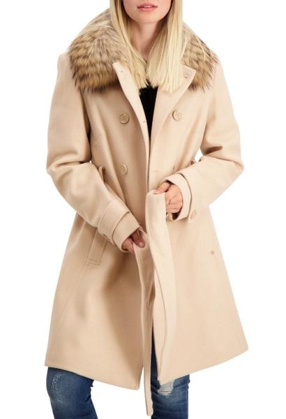 Manteau col fourrure amovible avec ceinture ECRUFUR Beige