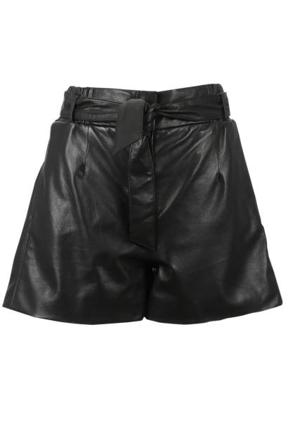 Short en cuir taille haute CARMEN Noir