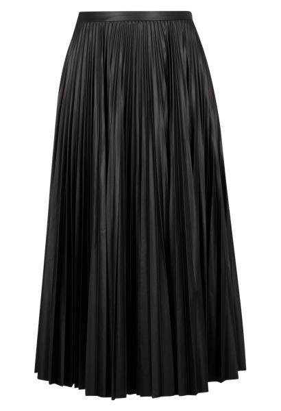 Jupe longue plissée simili cuir RAMONA Noir