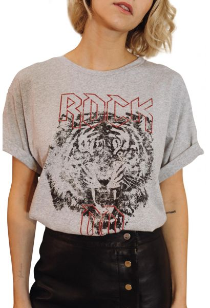 Tee shirt manches courtes ROCK Gris chine