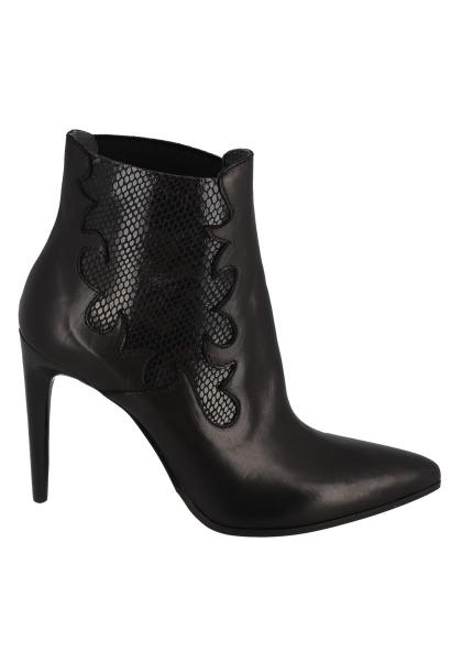 Boots chelsea à talon fin effet serpent à la cheville Noir
