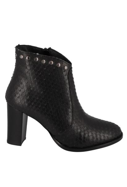 Boots à talon effet serpent et clous OSIRIS Noir
