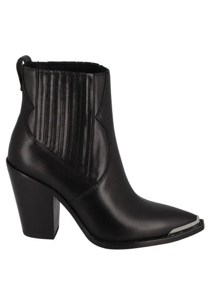 Boots à talon bout pointu avec métal cheville élastique Noir