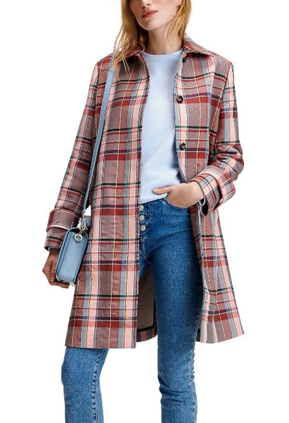 Manteau long macintosh à carreaux