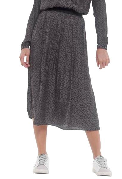 Jupe longue plissée imprimé léopard MOCKY Noir