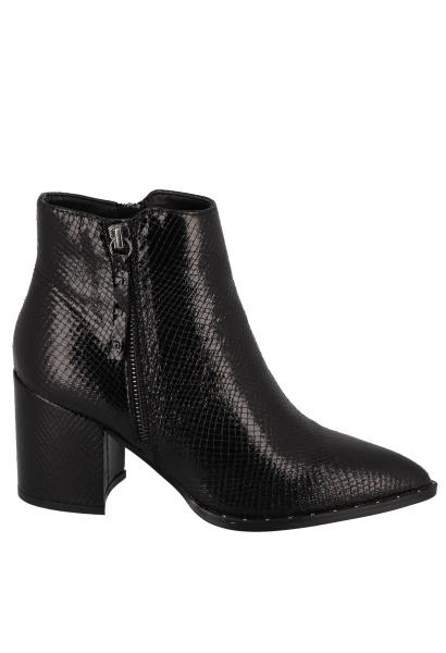 Boots talons zippé imprimé reptile Noir