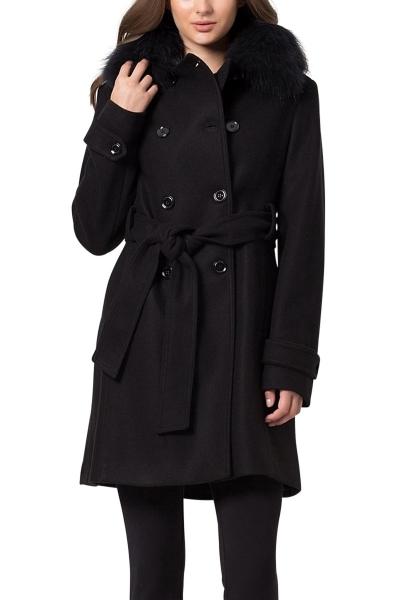 Manteau col fourrure amovible avec ceinture ECRUFUR Noir