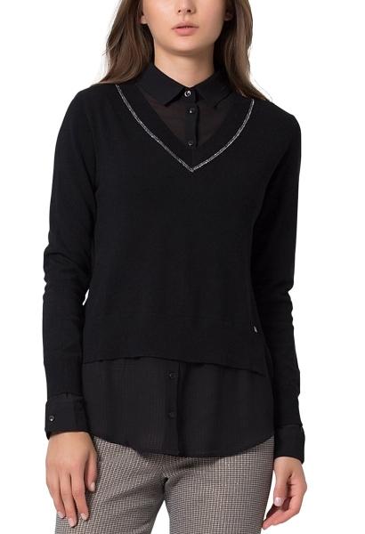 Pull chemise 2 en 1 PLAYA Noir