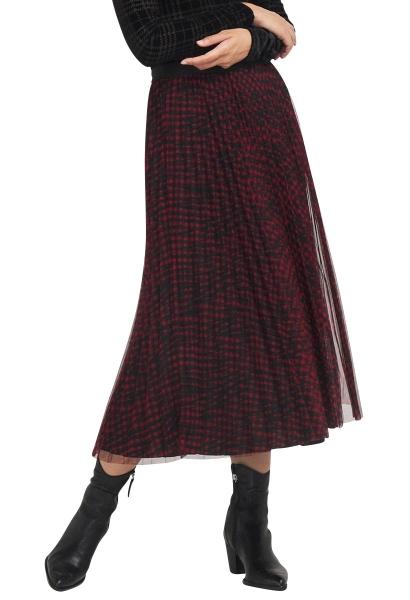 Jupe longue plisée réversible RAEGAN Noir/rouge