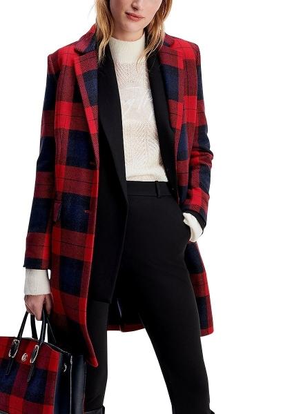 Manteau droit motif tartan