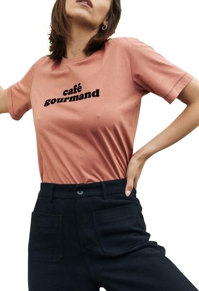 Tee shirt manches courtes à texte BEAU Rose