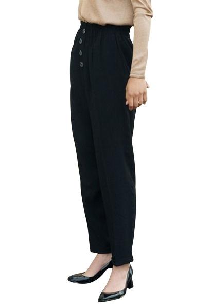 Pantalon long taille haute boutonnée et elastiquée BENSON Noir