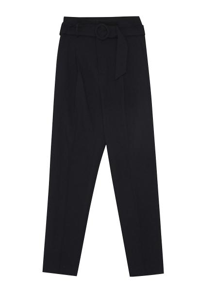 Pantalon taille haute ceinturé coupe droite BERTRAND Bleu marine