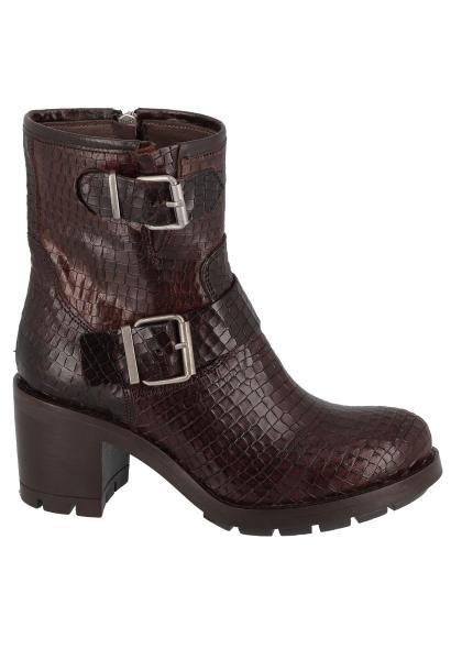 Boots double boucles effet croco KERATON Marron