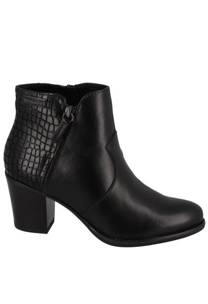Boots talon bloc 70 mm empiècement effet croco Noir