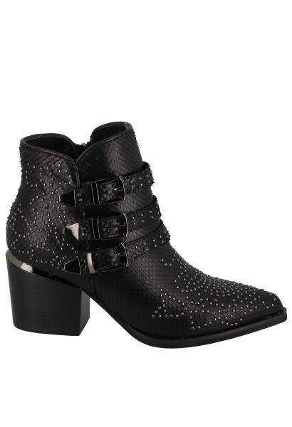 Boots à talon avec des clous effet serpent Noir