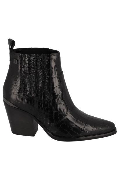 Boots chelsea à talon effet croco JUMP Noir