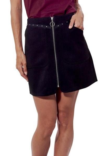 Jupe courte zipée devant LENOX Noir