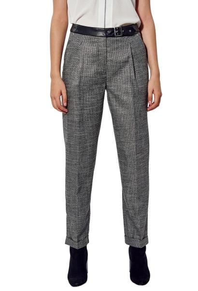 Pantalon slim ceinture simili cuir LEO Noir
