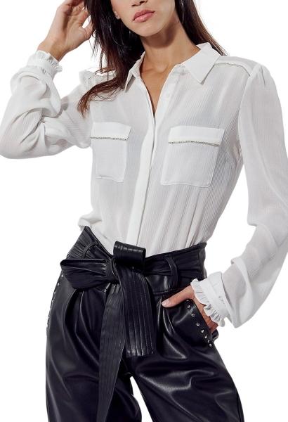 Chemise manches longues poches poitrine SING Blanc