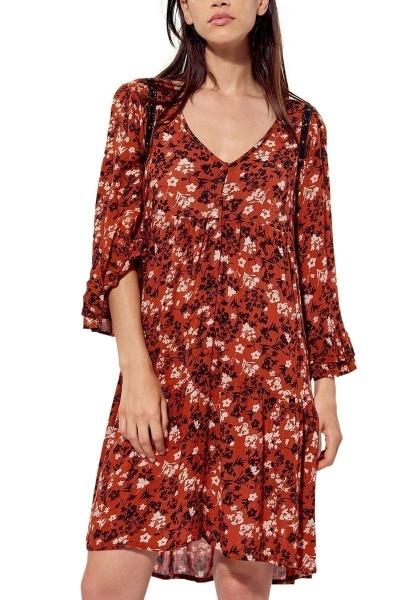 Robe imprimée fleuri et broderies SOLAL Rouge brique