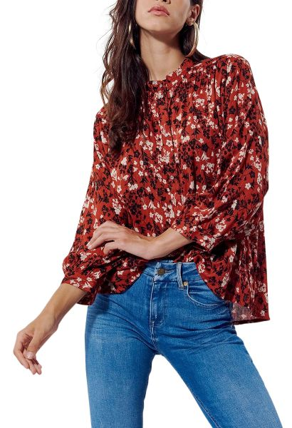 Chemise fleurie manches longues col bouton SOROW Rouge