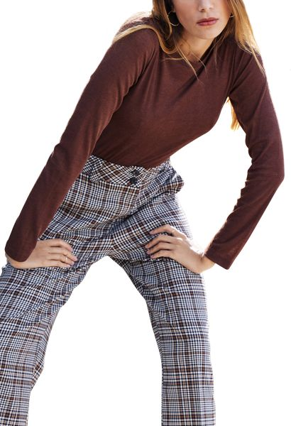 Tee shirt manches longues ras du cou BRAXTON Chocolat