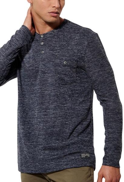 Tee shirt manches longues col boutons TIZO Bleu marine