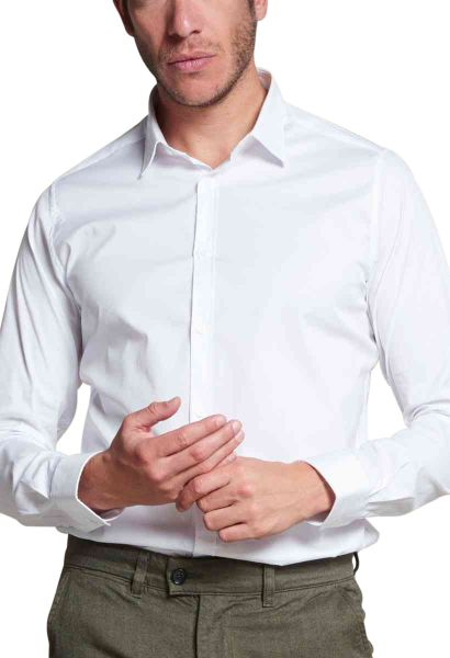 Chemise manches longues stretch Blanc