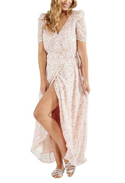 Robe longue portefeuille Rose
