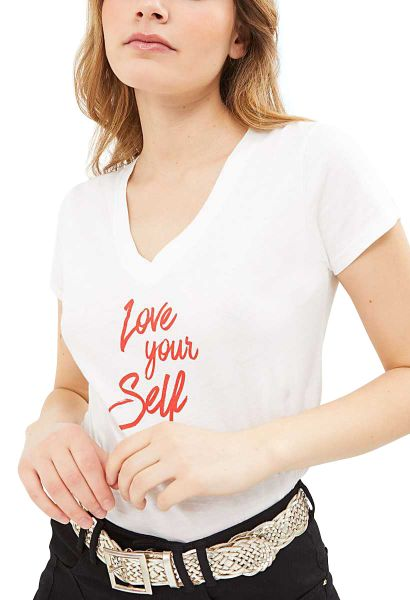 Tee shirt manches courtes col v Love your self Blanc