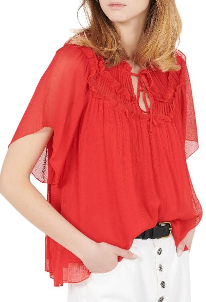 Blouse manches courtes larges THEODORA Rouge