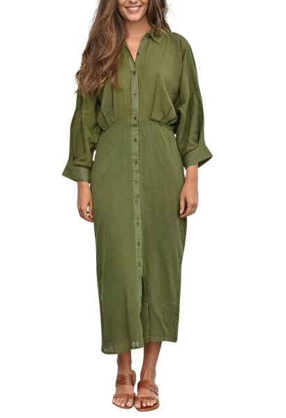 Robe chemise longues manches longues HADRIENNE Vert olive