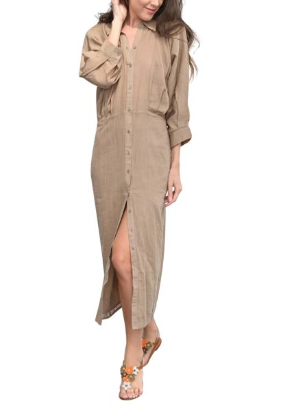 Robe chemise longues manches longues HADRIENNE Beige