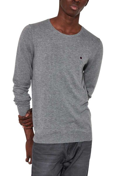 Pull col rond petit logo POKI RECYCLED Gris chine