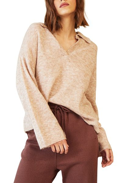 Pull oversize avec col polo DAMIER Taupe
