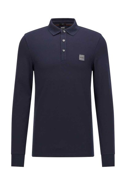 Polo manches longues slim fit PASSERBY Bleu marine